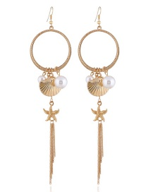 Elegant Gold Color Starfish&shell Decorated Long Earrings