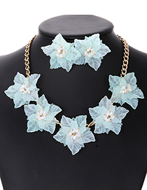 Elegant Light Green Flowers Decorated Pure Color Jewelry Sets