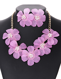Elegant Light Purple Pure Color Design Flower Shape Jewelry Sets