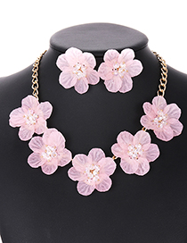 Elegant Light Pink Beads&flower Decorated Pure Color Jewelry Sets