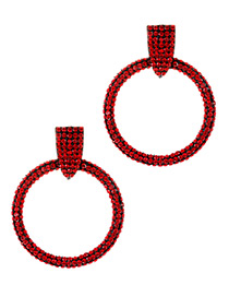 Elegant Red Full Diamond Design Round Shape Earrings