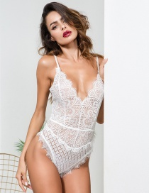 Sexy White Hollow Out Design Pure Color Jumpsuit