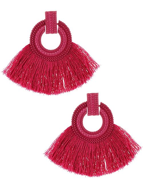 Fashion Dark Pink Pure Color Design Tassel Earrings