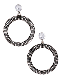 Fashion Silver Color Circular Ring Shape Design Earrings