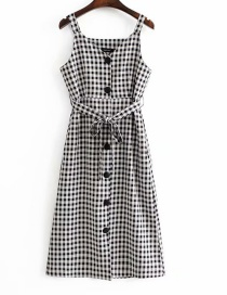 Elegant White+black Gird Pattern Decorated Suspender Dress