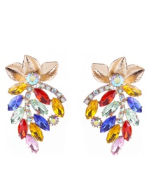 Elegant Multi-color Leaf Decorated Hollow Out Earrings