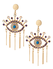 Fashion Gold Color Eye Shape Design Long Tassel Earrings