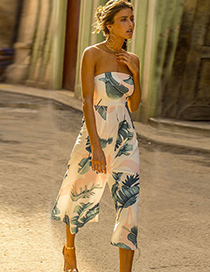Fashion White+green Leaf Pattern Decorated Strapless Jumpsuit