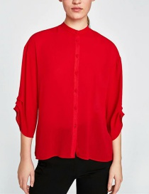 Fashion Red Pure Color Decorated Blouse