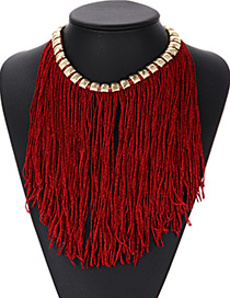 Fashion Claret Red Tassel Decorated Necklace