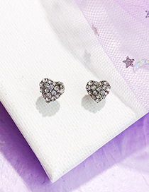 Fashion Silver Color Heart Shape Decorated Full Diamond Earrings