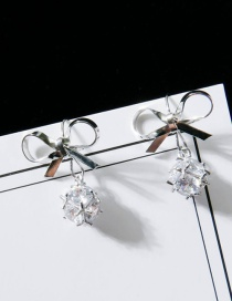 Fashion Silver Color Bowknot Shape Decorated Earrings