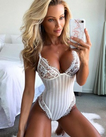 Sexy White Stripe Pattern Decorated Jumpsuit