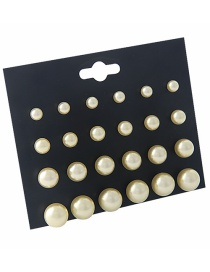 Fashion Beige Pure Color Decorated Earrings Sets(12 Pairs)
