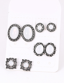 Fashion Silver Color Oval Shape Decorated Earrings Sets(4 Pairs)