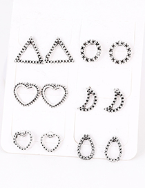 Fashion Silver Color Geometric Shape Decorated Earring Sets(6 Pairs)