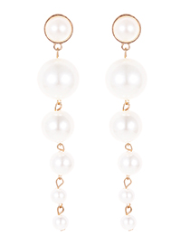 Fashion White Round Shape Decorated Earrings