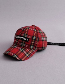 Fashion Red Grids Pattern Decorated Hat