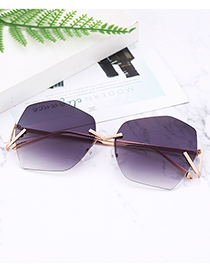 Fashion Black Geometry Shape Decorated Pure Color Sunglasses