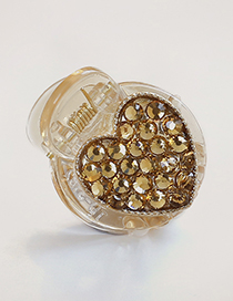Fashion Champagne Heart Shape Decorated Hair Clip