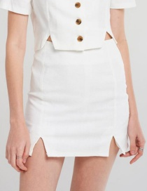 Fashion White Pure Color Decorated Skirt