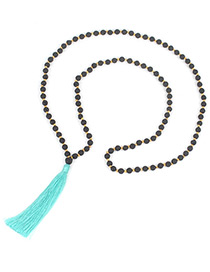 Fashion Light Green Tassel&bead Decorated Necklace