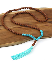 Fashion Brown+blue Tassel Decorated Necklace