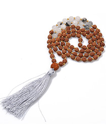 Fashion Gray Tassel&bead Decorated Necklace
