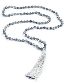 Fashion Gray Tassel Decorated Necklace