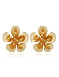 Fashion Gold Color Flower Shape Decorated Pure Color Earrings