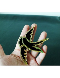 Fashion Black+gold Color Bird Shape Decorated Brooch
