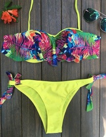 Fashion Multi-color Leaf Pattern Decorated Bikini