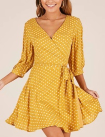 Fashion Yellow Dots Pattern Decorated V Neckline Dress