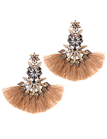 Fashion Khaki Tassel Decorated Flower Shape Earrings