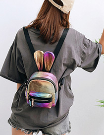Trendy Multi-color Ears Shape Design Color Matching Backpack(small)