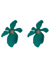 Elegant Green Pure Color Design Flower Shape Earrings