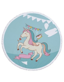 Fashion Blue Unicorn Pattern Decorated Round Shape Beach Towel