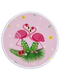 Fashion Pink Flamingo Pattern Decorated Round Shape Beach Towel