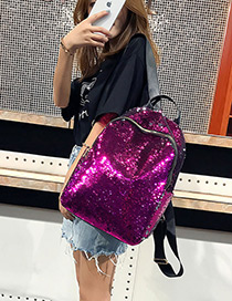 Elegant Purple Sequins Decorated Pure Color Backpack