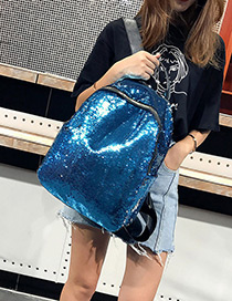 Elegant Blue Sequins Decorated Pure Color Backpack