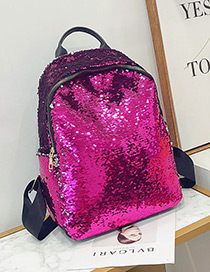 Elegant Plum Red Sequins Decorated Pure Color Backpack