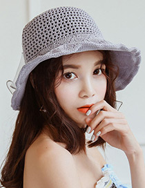 Trendy Gray Bowknot Decorated Knitted Sunscreen Hat