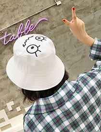 Fashion White Cartoon Pattern Decorated Leisure Cap