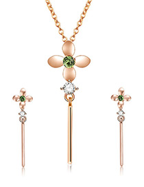 Fashion Gold Color Clover Shape Decorated Jewelry Sets