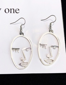 Elegant Silver Color Face Shape Design Pure Color Earrings