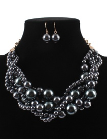 Elegant Gray Pearls Decorated Pure Color Jewelry Sets