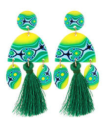 Fashion Green Oval Shape Design Tassel Earrings