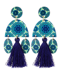 Fashion Sapphire Blue Oval Shape Design Tassel Earrings