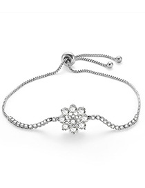 Fashion Silver Color Flowers Decorated Simple Bracelet