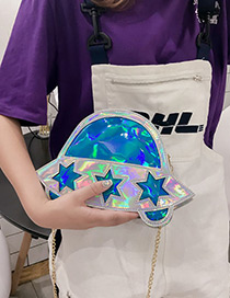 Elegant Blue Star Shape Decorated Shoulder Bag